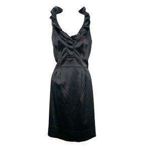 Just...Taylor black satin ruffle cocktail dress
